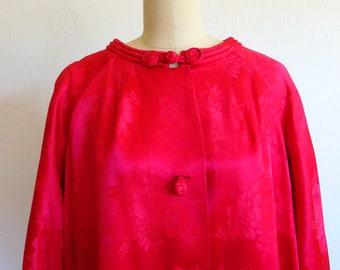 60s Raspberry BROCADE swing coat size large