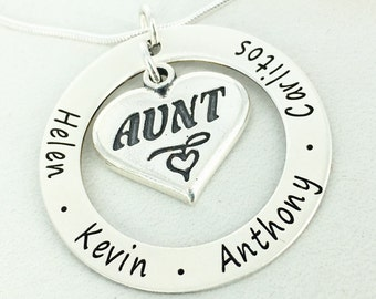 "Personalized 1 1/4"" loop necklace with Aunt heart charm - Engraved Necklace - Aunt Necklace - Aunt Jewelry - Personalized family necklace"