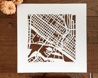 Richmond hand cut map, 10x10