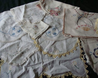 Collection of Vintage Embroidered Linens from the Prairie ~ Birds & Flowers