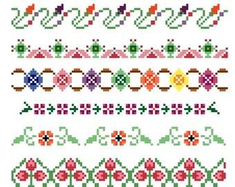 PDF Pattern - Cross Stitch Borders Sampler Patterns - Geometric - Floral - Digital Download