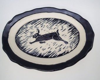 Ceramic Soap Dish, Spoon Rest, Rabbit Plate, Carved plate, Tapas Plate, Trinket Tray, Black and White, Sgraffito Pottery, Rabbit Lover Gift