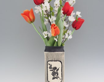 Sgraffito Vase - Textured Vase - Handbuilt Vase - Striped Vase -  Tall Ceramic Vase - Floral Vase - Black and White - Stoneware Vase