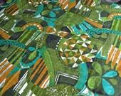 Vintage Fabric - Hawaiian Mid Century Geometric Barkcloth in Green and Aqua - 43 x 40