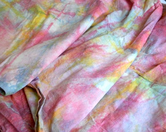 Vintage Multi Colored Tie Dye Fabric - Heavy Cotton By the Yard