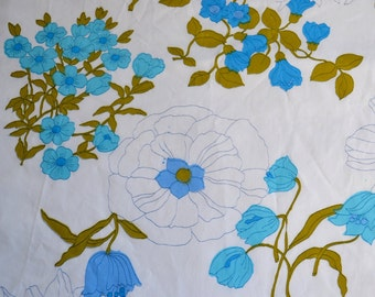 Vintage Bed Sheet - Wamsutta Turquoise and White Daisy Floral - NOS Twin Fitted