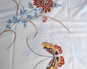 Vintage Pillowcase - Butterflies and Mums - King Size Cannon
