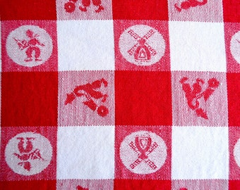 Vintage Dutch Tablecloth - Red and White Check Windmill - 54 x 67