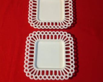 2 Milk Glass Square Reticulated Plates (K-40)