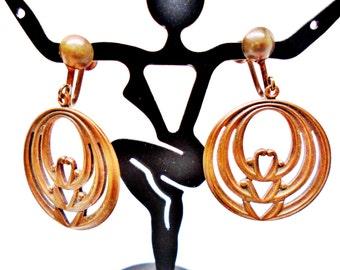 Vintage Copper Earring Dangles Screwback 1930s Art Deco Modern Hearts Mid Century Art Deco Art Nouveau Collectable Runway Statement