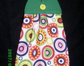 TOWEL #35 Bright Multicolor Hanging/Button On/Kitchen/Bath/Studio/BBQ/Utility Room/Made in US/Terry Cloth/ for Gift Basket/ Manish