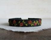 Rustic Floral Cuff Bracelet - Rust Floral Vine Design Embroidered on Black Linen Cuff Bracelet