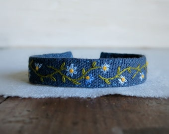 Wildflower Cuff Bracelet - Blue Wildflowers Hand Embroidered on Blue Linen Cuff Bracelet