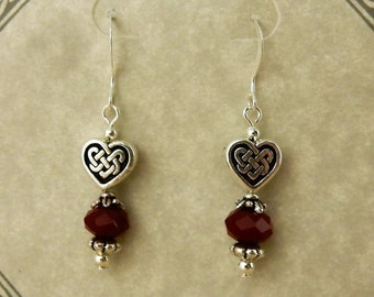 Celtic Knot Heart beaded earrings with Red opaque crystal rondelles