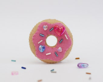 Cute Pink Strawberry Donut Felt Brooch with Heart Bead Sprinkles