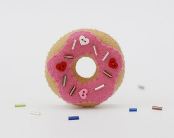 Cute Pink Strawberry Donut Felt Brooch with Heart Button Sprinkles