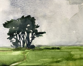 Coastal Cypress, Ft. Bragg • original watercolor painting