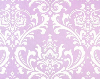 RTS Lined scallop valance, 42 x 16 inches, wisteria lilac and white damask,