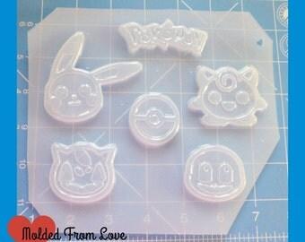 SALE 6 Cavity Deluxe Poke Friends Pallet  Plastic Handmade Resin Mold