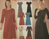 Simplicity 9872/Uncut Sewing Pattern/Misses Design Your Own Dress/2 Lengths/Dolman Sleeves/Neckline Variations/Size 8-10-12-14/2001