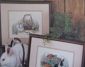 Hare Ribbons/Counted Cross Stitch Patterns by Leisure Arts/1991/Bunnies/Rabbits/Animals/Wall Hangings/Needlecraft