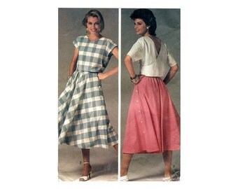 1980s Skirt and Top Pattern Summer Separates Back Wrap Crop Top Side Button Skirt Simplicity 6946 Bust 32 OR 38 Vintage Sewing Pattern