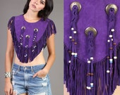 vintage PURPLE suede leather TASSEL fringe capelet poncho cape concho 80s 70s 1980s 1970s one size OS