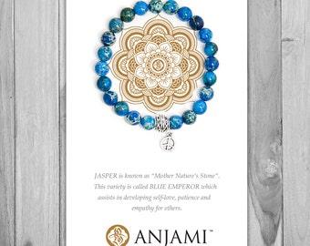 BLUE EMPEROR JASPER,Mala Bracelet,Beaded Bracelet,Wrist Mala,Yoga Bracelet,Yoga Jewelry,Inspirational,Gemstone Bracelet, Healing Jewelry