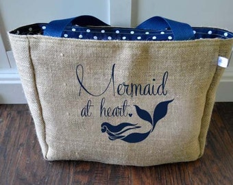 Mermaid at Heart Market Tote Bag, Handmade from a Recycled Coffee Sack