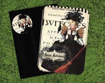 Halloween Cards w/Stickers, Marie Antoinette, Witch Marie