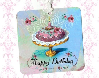 Gift Tags, Birthday Tags, Cake Tags, Happy Birthday Tags, Shabby Style