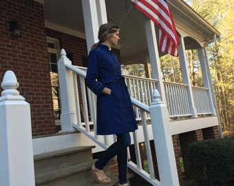 Tailored navy belted trench
