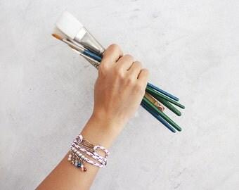 Cord bracelet charm - crystal