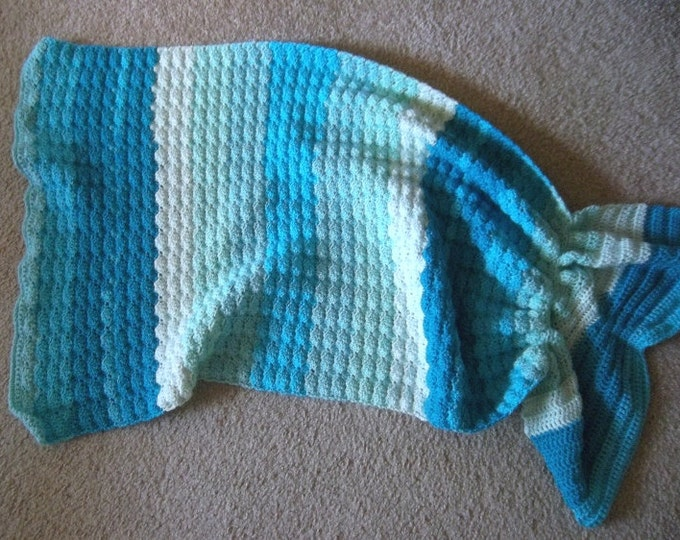 Mermaid Blanket - Crochet Mermaid Blanket for Toddler - 28 x 35 inches