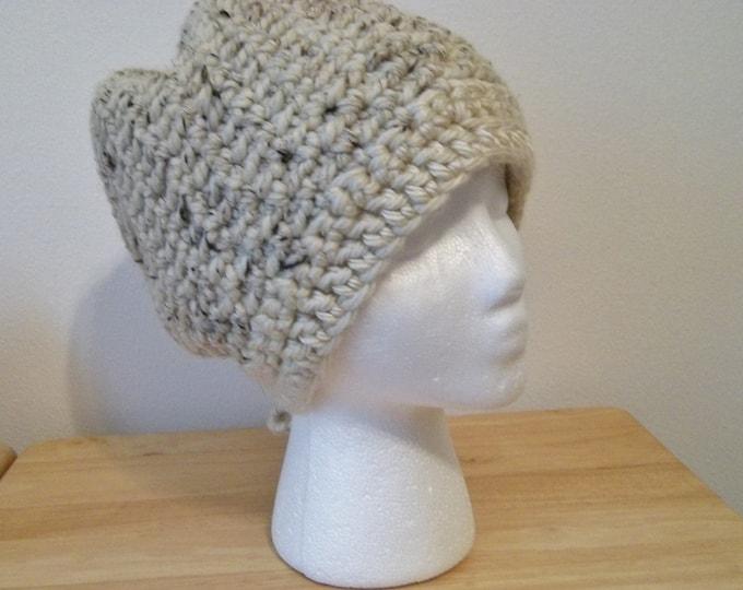Hat - Handmade Crochet Women's Hat - Cloche - Size XL - Acrylic/Wool/Rayon - Color Light Beige