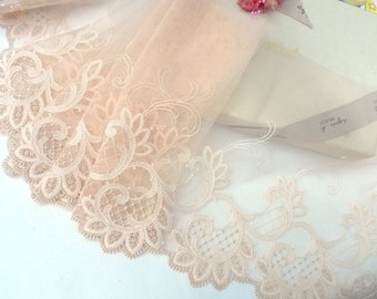 Lace trim, Wedding lace, Embroidered lace, Tulle lace, Lingerie lace, Brown lace, 2 yards BN099