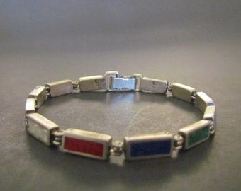 Vintage Signed Dakota West Designs Sterling Silver Multi Stone Inlay Bracelet