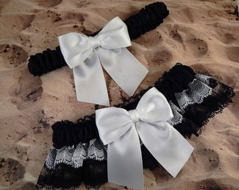 White Black Satin White Black Lace Wedding Bridal Garter Toss Set