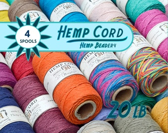 Macrame  Hemp Cord,  1mm,   205 Feet,  Hemp Cord,  Jewelry Cord,  Hemp Spools,  Choose 4 Colors
