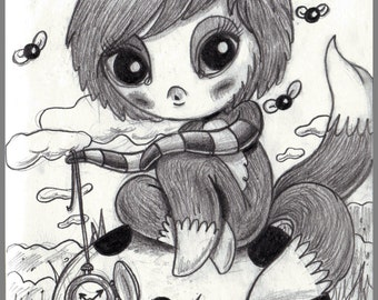 Day #155- Time's Up  - Kawaii foxy girl original sketch a day drawing! 5.5 x 8.5