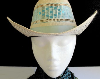 Cowgirl Straw Hat With Metallic Ribbon Design * Vintage C.R. ANTHONY * Size 7