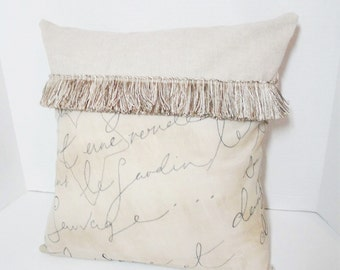 """Tan French script pillow cover, Shabby cottage decor, rustic fringe pillow, 18 inch French decor, 14"""" tan & black pillow,  French country"""