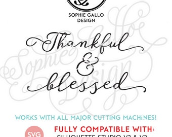 Thankful & Blessed SVG, DXF, PNG digital download files for Silhouette Cricut vector clipart graphic Vinyl Cutting Machine Screen Printing