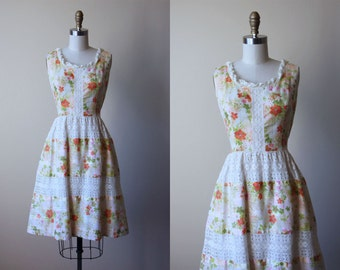60s Dress - Vintage 1960s Dress - Ivory White Olive Green Floral Print Cotton Blend Lanz Sundress S M - Terra Firma Dress