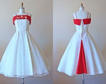 1950s Party Dress - Vintage 50s Dress - Ivory White Red Beaded Studded Appliques Lace Prom Dress M - Queen of Hearts Dress