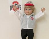 American Girl Dolls  5 Piece Scarlet & Gray Fan Outfit