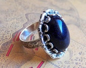 I've Loved The Stars Too Fondly - Ring - Vintage Blue Goldstone - Adjustable Ring - Jewelry by HoneyNest