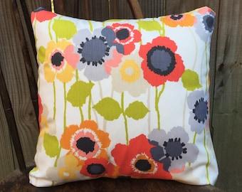 100% Cotton Throw Pillow Cover, White Floral