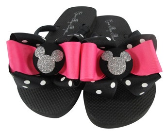 Hot Pink Disney Flip Flops/polka dot Bow/ Silver Glitter any color/Mickey Mouse/ custom design your own colors/ ladies and girls/cruise