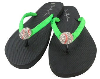 Neon Green Baseball Flip Flops - Rhinestone Bling Sandals Shoes, Baseball Mom or Softball Girl Player , Choose ribbon